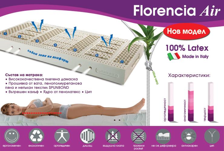 Латексовото ядро на матрак Florencia Air има разнообразно повърхностно оформление с цел да осигури масаж по цялото протежение на тялото благодарение на малките изпъкнали полусфери. Вертикални отвори по цялата повърхност на матрака, както и няколко хоризонтални от дългата му страна, осигуряват самопроветряване и регулиране на влагата, естествено произвеждана от тялото. Това удължава живота на матрака, той не задържа прах и алергени и е по-хигиеничен. Дамаската е луксозна, мека и изключително приятна на допир, фабрично обработена с натурален екстракт от Алое Вера. Това действа омекотяващо и регенериращо на кожата, като поддържа естествения й баланс. Florencia Air се състои от седем зони на комфорт, които разпределят равномерно тежестта на тялото, осигуряват естествено и релаксиращо състояние на гръбначния стълб. Благодарение на гъвкавия пенолатекс вече не е нужно да нагаждате тялото си според матрака. Височина на матрака: 20 см Гаранция: 10 години